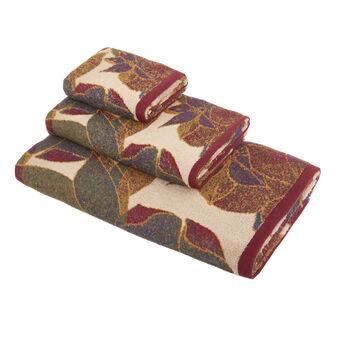 Asciugamano cotone tinto filo disegno floreale