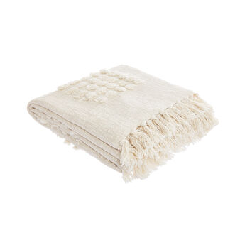 100% cotton throw with knot applications