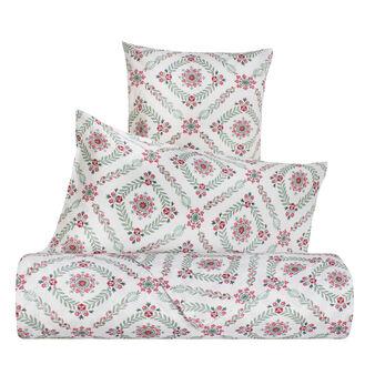 Parure letto puro cotone percalle geometrica floreale