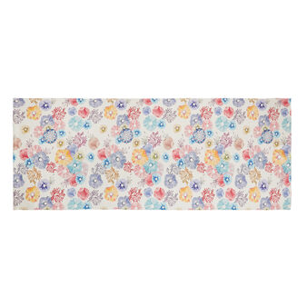 Kitchen mat in recycled PET with floral motif print