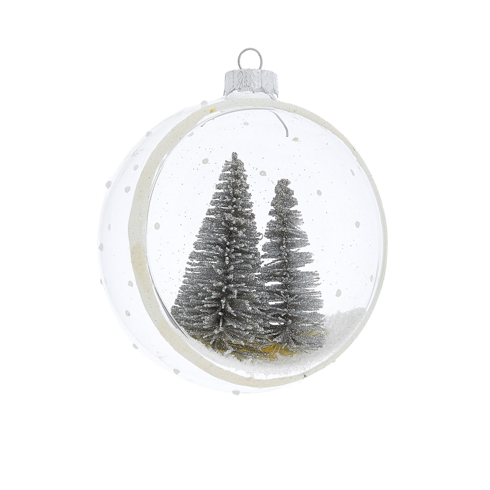 Hand-decorated half bauble with forest decoration