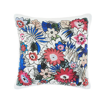Cotton cushion with flowers print