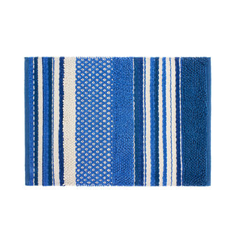 Tufted cotton bath mat with stripes