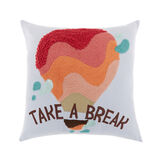 Cotton cushion with Take a break embroidery 45 x 45 cm