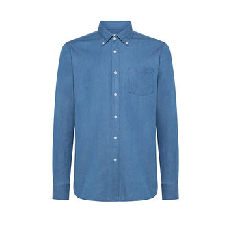 Tailored-fit denim shirt with cutaway collar