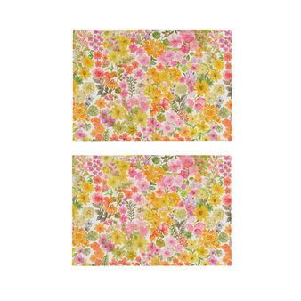 Set 2 tovagliette puro cotone stampa fiorellini