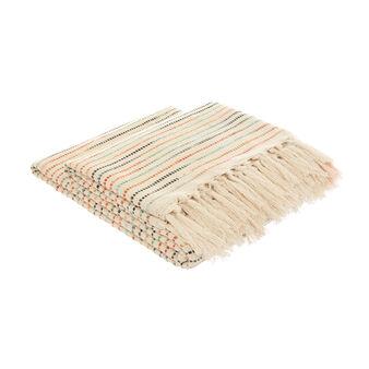 Striped jacquard cotton plaid