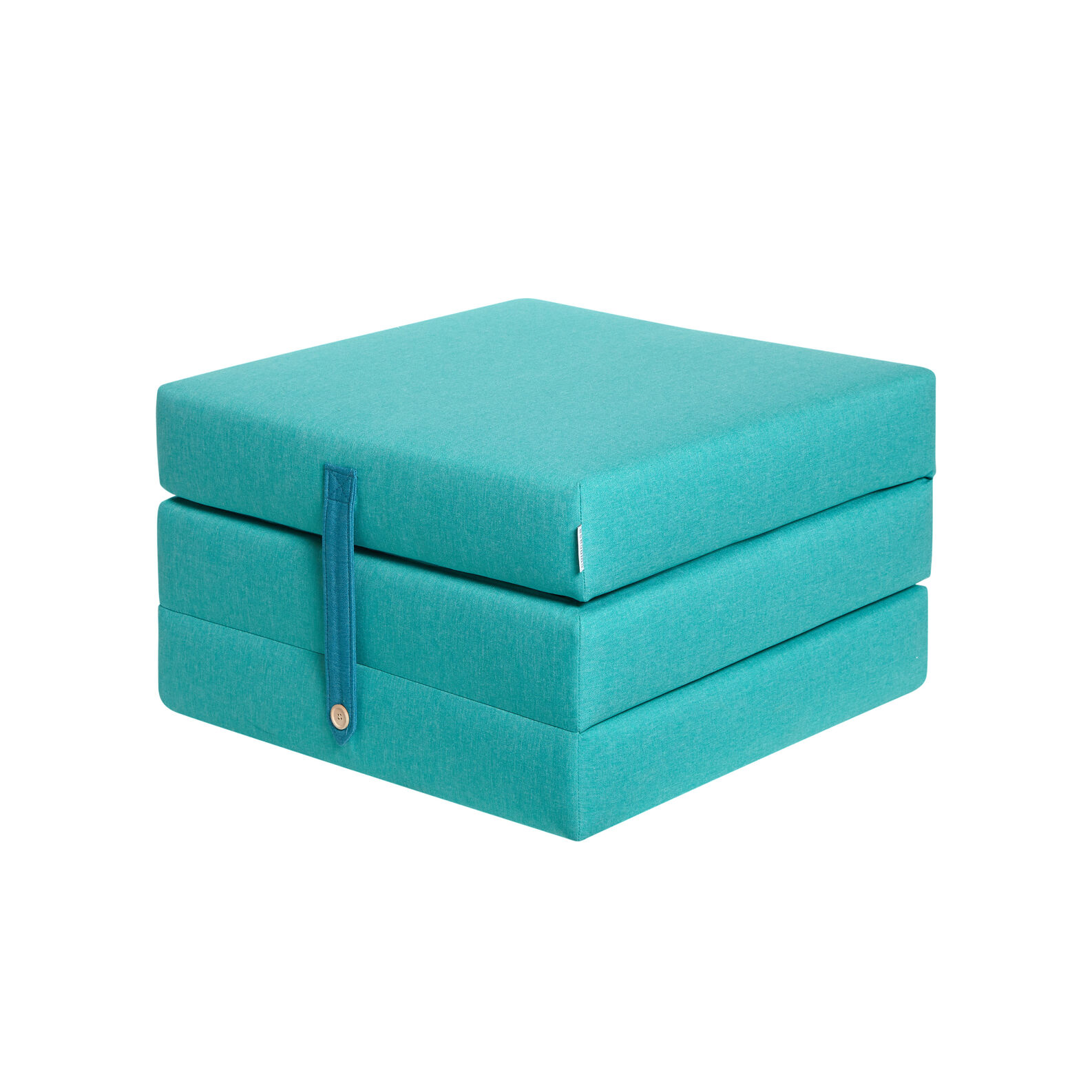 Turquioise solid colour fabric ottoman