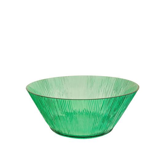 Striped plastic salad bowl