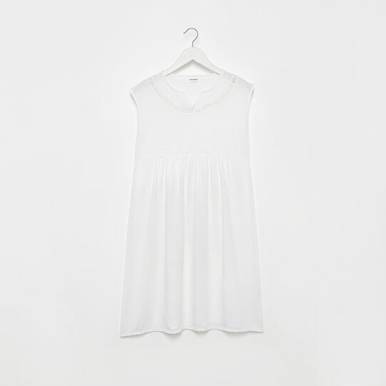 Cotton and viscose blend dress with lace detailing