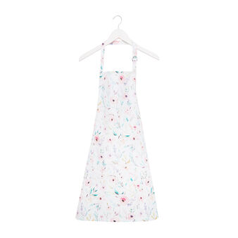 Bib apron in cotton twill with roses print