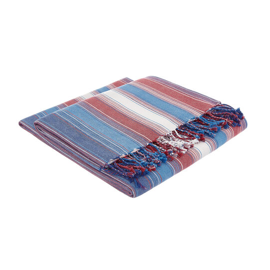 100% cotton throw with multi-striped motif