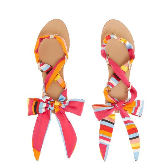 Thong sandal with ribbon detail