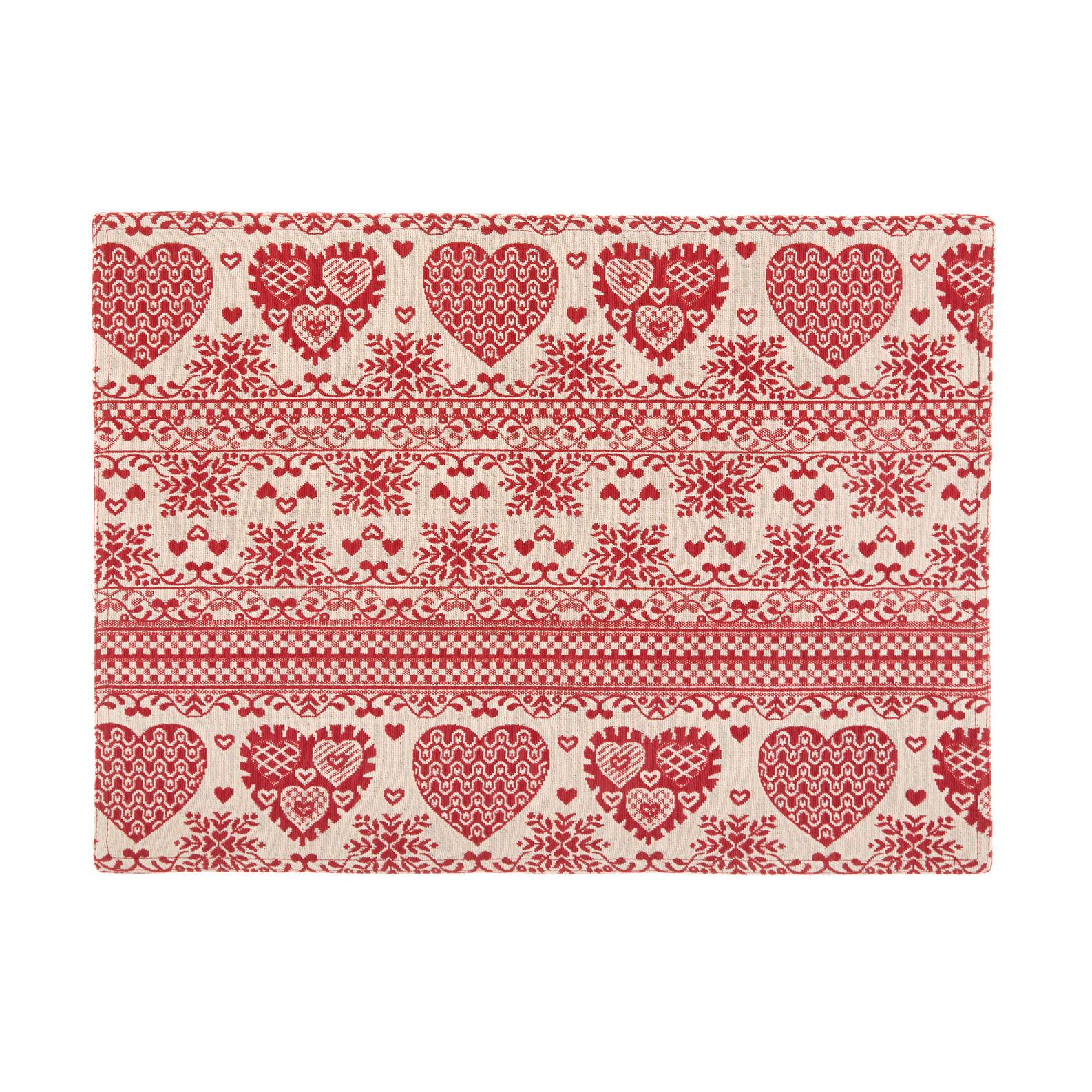 Gobelin table mat with hearts motif