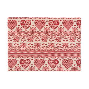 Gobelin table mat with hearts motif