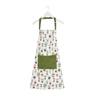 Bib apron in cotton twill with vases print