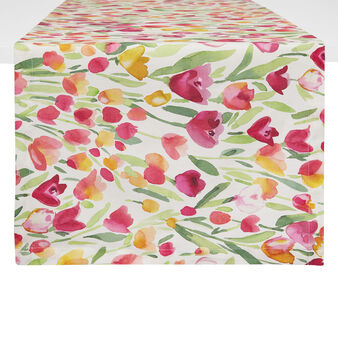 100% cotton table runner with tulips print