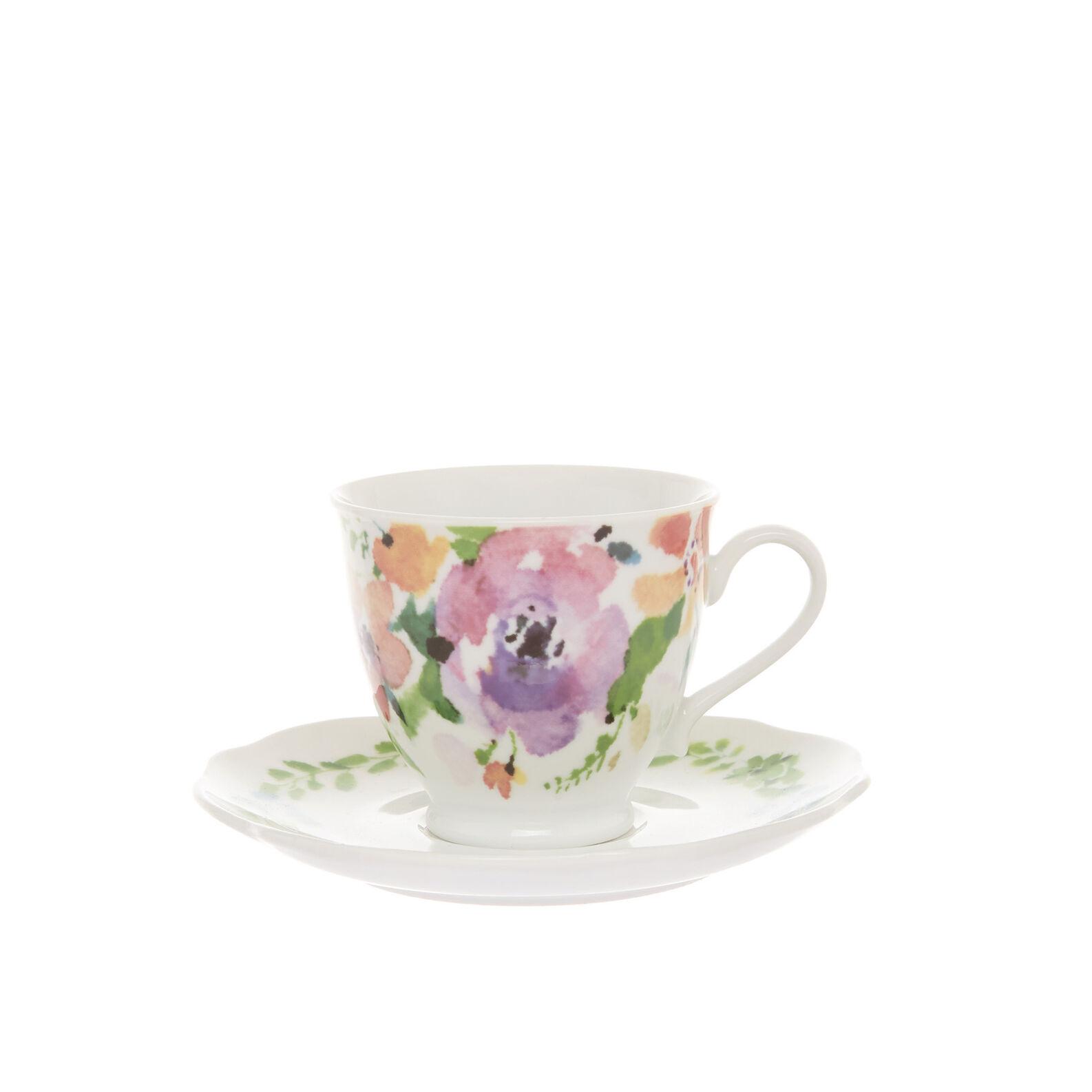 Floral porcelain teacup