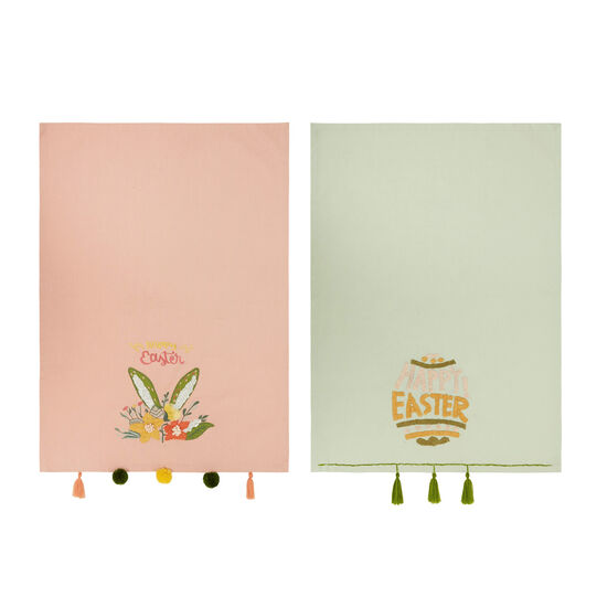 Two-pack 100% cotton tea cloths with Easter embroidery