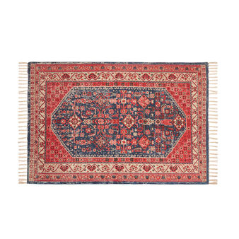 100% cotton rug with vintage effect print