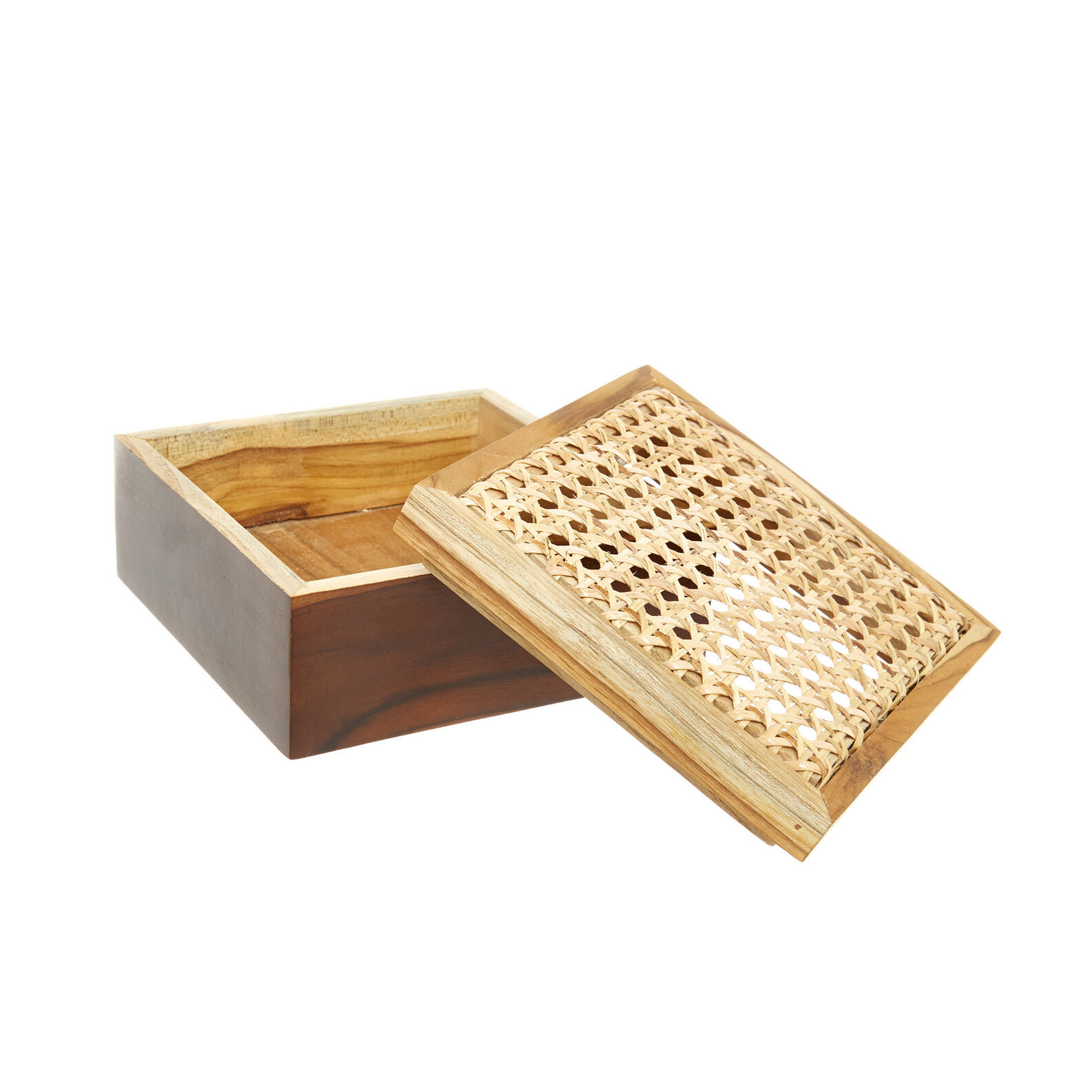 Rattan and teak box