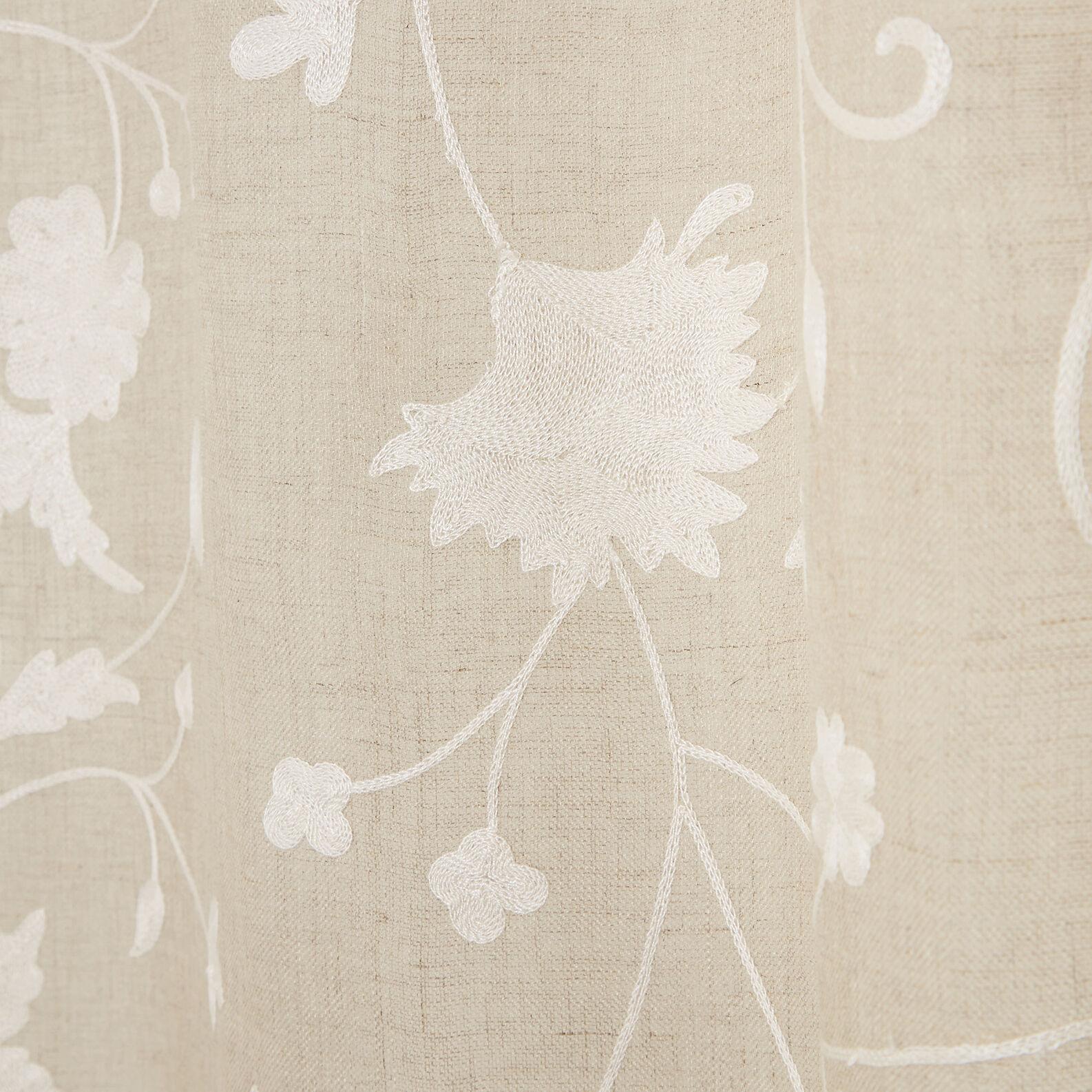Tenda puro lino ricamo floreale