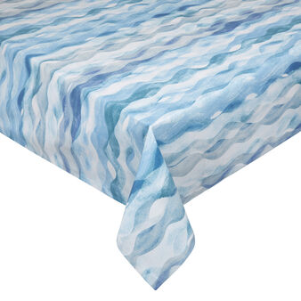 Cotton blend tablecloth with wave print