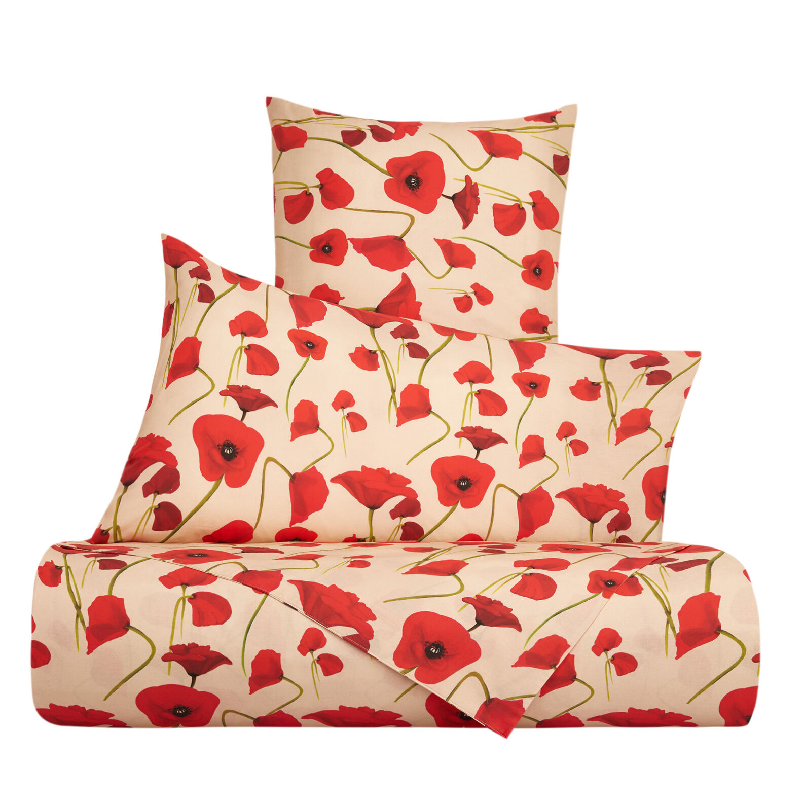 Flat sheet in cotton percale with poppy pattern