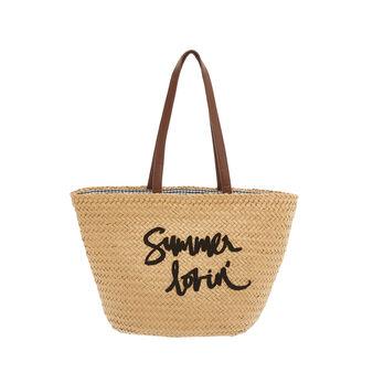 Raffia beach bag with Summer lovin' embroidery