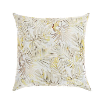Leaf print cotton satin cushion