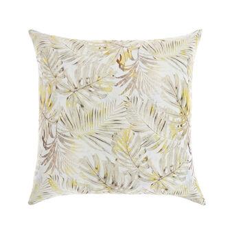 Cuscino raso di cotone stampa foglie