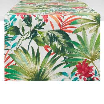 100% cotton table runner with tropical leaf print