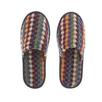 Cotton terry slippers with polka dot motif