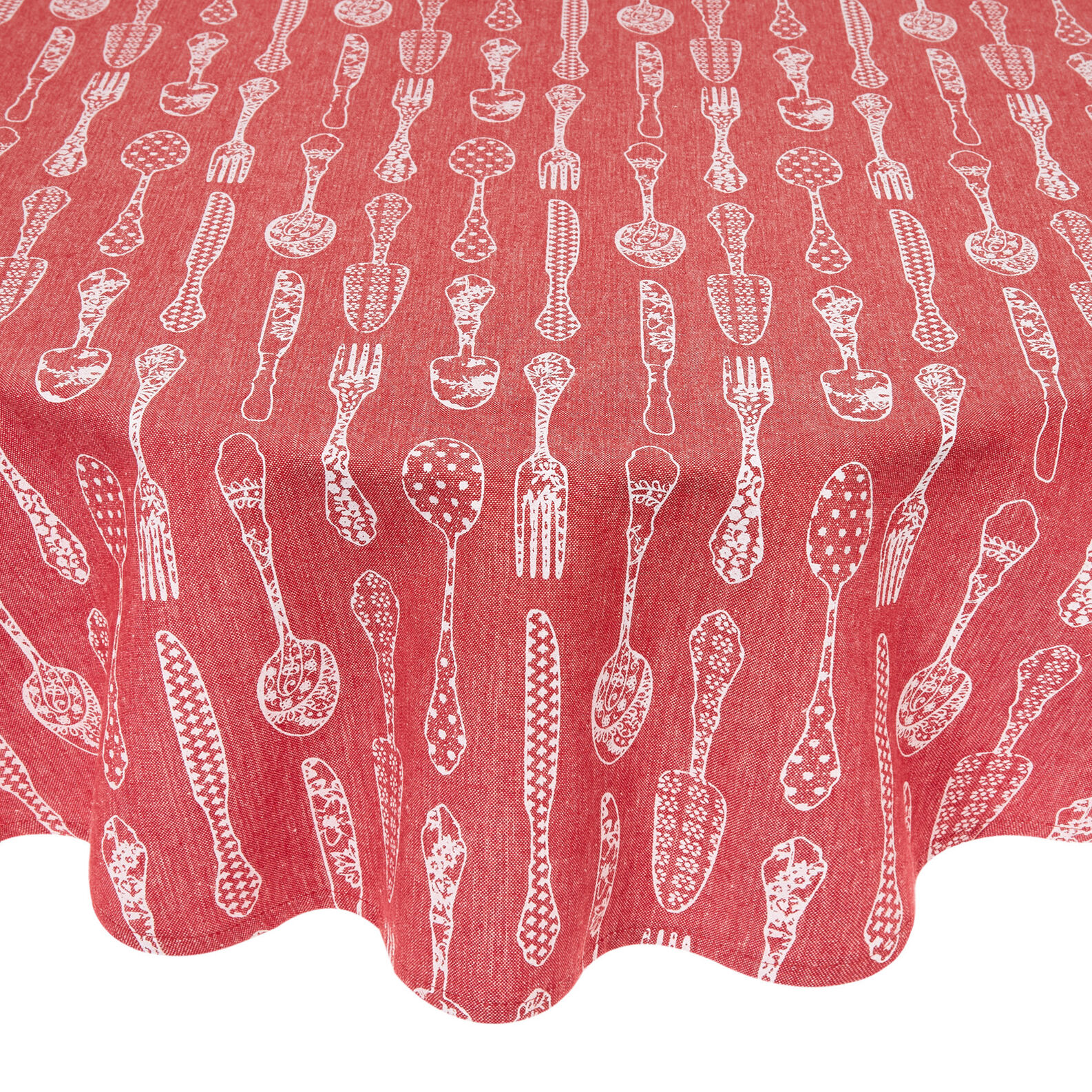 Round 100% cotton tablecloth with cutlery print