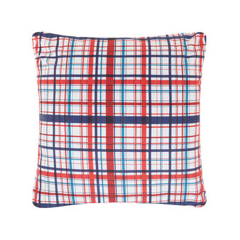 Tartan cushion in cotton percale