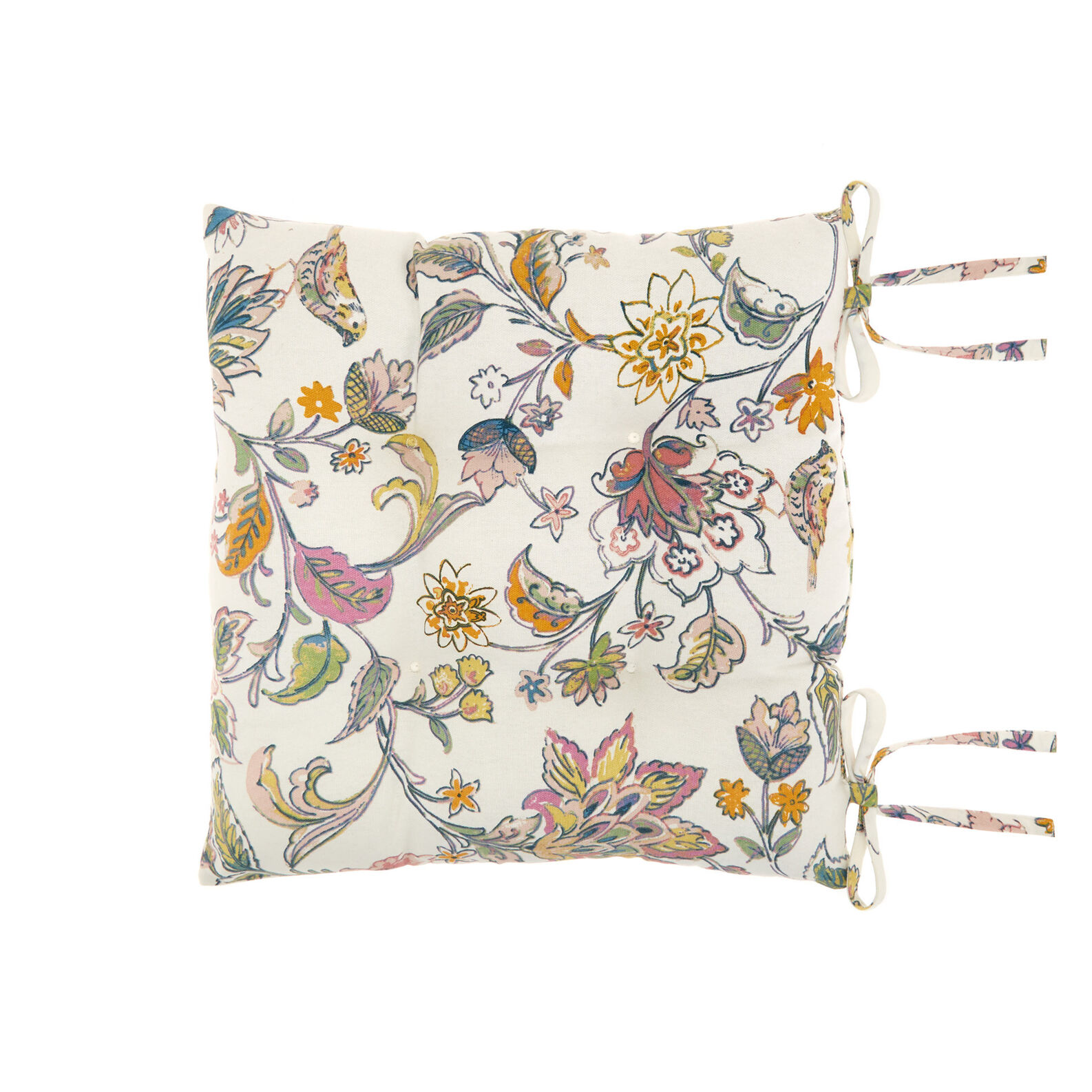 Kitchen seat pad in 100% cotton with floral print