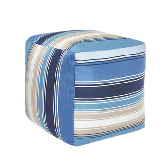 Linen blend pouf with striped jacquard