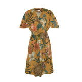 100% linen wraparound dress with floral pattern