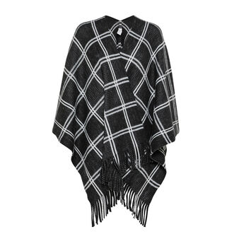 Koan checked fringed cape
