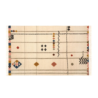 Hand-woven fabric rug with geometric motif