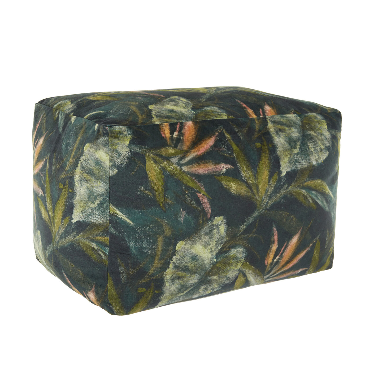 Velvet footstool with floral print