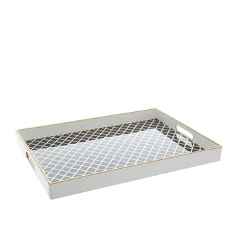 Plastic tray with diamond decoration