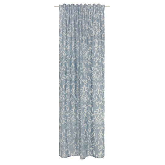 Linen blend curtain with ikat motif