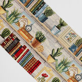 Gobelin jacquard table runner with plants motif