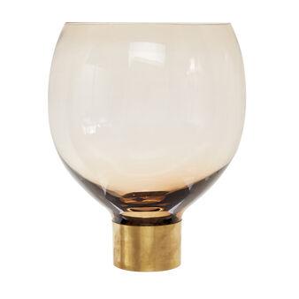 Vaso vetro colorato in pasta base in metallo