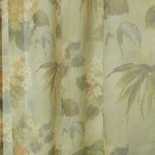 Curtain with floral print and concealed loops