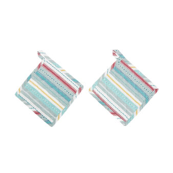 Two-pack 100% cotton pot holders with striped embroidery