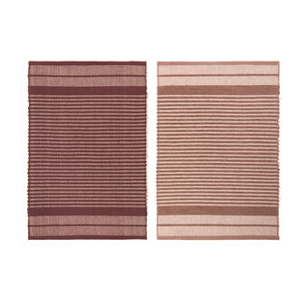 Set of 2 striped table mats in 100% cotton mélange