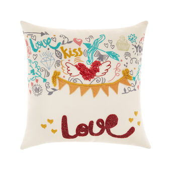 Love cushion with embroidery 45x45 cm