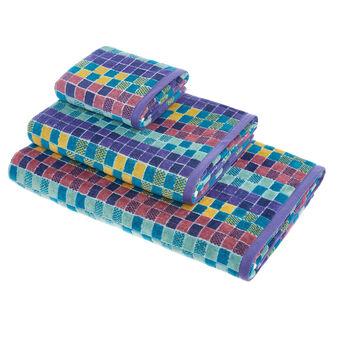 Asciugamano cotone velour fantasia mosaico